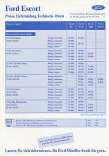 Ford Escort Preisliste 1.9.94 price list 1994 Autopreisliste prijslijst Auto PKW