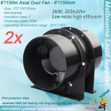 "2x 6"" Ventilation Silent Fan Metal Blower Hydroponics Intake & Exhaust Axial Fan"