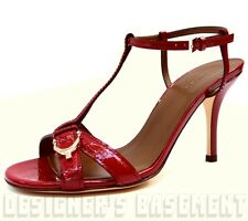 GUCCI red 38.5 Micro GUCCISSIMA Leather NICE SPUR buckle T-strap sandals NIB Ath