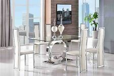 Channel 160cm Steel & Clear Glass Dining Table with 6 Faux Leather Ivory Chairs