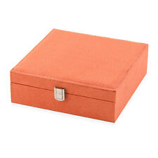 Orange Faux Velvet Jewelry Box Organizer Portable Storage Trinkets Gift