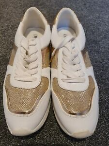 DUNE LONDON NEW LADIES TRAINERS SHOES WHITE GOLD SIZE 8/41