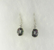 Vtg Mystic Topaz Dangle Earrings .925 Sterling Silver Stone Jewelry Handcrafted