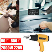 2000W Hot Air Heat Gun Adjustable Heating Electric Tool + Nozzle Power Heater