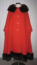 1960s Custom Couture Mink ORANGE wool 2-piece CAPE SKIRT Set Vintage Mod Posh