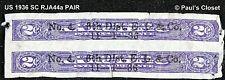 """US 1936 Sc RJA44a Violette 2 ¢ Narcotic Taxe Tampon - Paire Surimpression """""""