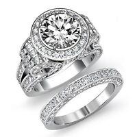 5.2ct Round Diamond Bridal Set Engagement Vintage Ring GIA F VS2 14k White Gold
