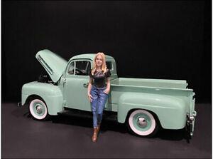 Car Girl In Tee Rachel Figurine For 1/18 Scale Models By American Diorama