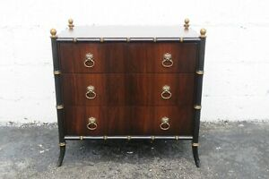 Hollywood Regency Faux Bamboo Rosewood Nightstand Side Table by Tomlinson 2276