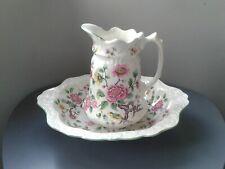 More details for vintage staffordshire james kent old foley chinese rose jug and bowl pre 1950's