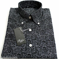 Relco Mens Black White Paisley Long Sleeved Shirt Mod Skin Retro Indie 60s 70s
