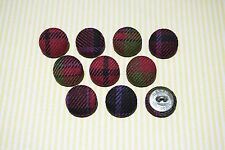 10 Pink, Purple and Green Checkered Fabric Covered Buttons - 20mm