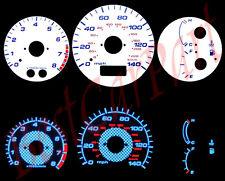 BLUE 97-03 Mazda 323 Protege Protege5 WHITE FACE REVERSE INDIGLO GLOW GAUGES