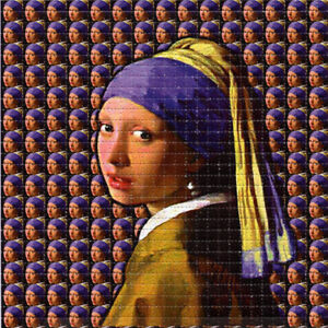 GIRL With A PEARL EARRING BLOTTER ART perforated sheet paper psychedelic art
