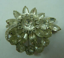 Vintage Crystal Clear Eisenberg Ice Brooch Rhinestone Baquette Pin Jewelry
