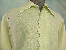 VtG 60s EMBROiDERED EYELET LACE MEXiCAN WEDDiNG ROCKABiLLY TUXEDO DRESS SHiRT L