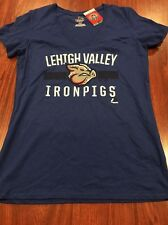 Majestic Lehigh Valley Iron Pigs Women's Jersey Shirt Large L Phillies Bacon