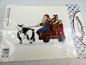 """1991 Ragamuffins Santa w/ Cow Iron-On Transfer  """"Delivered in Style""""  #4140"""