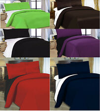 4/6 PC COMPLETE LUXURY FITTED DUVET QUILT BED SHEET PILLOWCASE COVER SET PLAIN