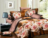 3D Effect 4Pcs Floral Duvet Covers With Fitted sheet Bedding Set + 2 Pillow Case