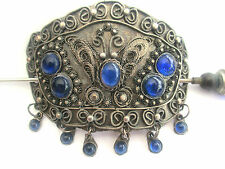 Pretty Vintage Hairslide. Blue Cabouchons and Intricate Decoration