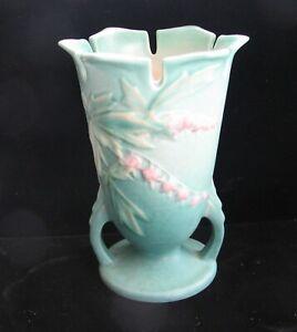 Vintage ROSEVILLE Blue green  BLEEDING HART Vase 964-6 Art Pottery usa Ca 1938