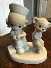 """1981 Precious Moments """"Love Beareth All Things """"Nurse & Bear E-7158 Cute"""