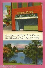 Trailway Coffee Shop Cafe Hotel Restaurant Bend Oregon Linen Postcard