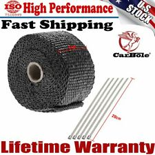 "Black Exhaust Manifold Downpipe Heat Wrap 2"" x 5m & 5 Ties rap De Cat Pipe Tape"