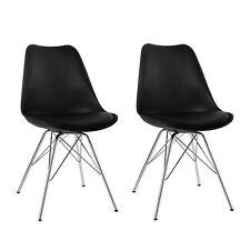 2er Set Esszimmerstuhl Schwarz Stuhl Vintage Design Retro Kunststoff Metall