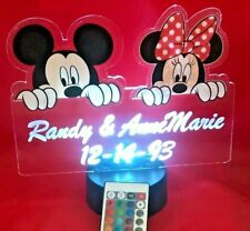 Mickey and Minnie Mouse Disney Light Up Personalized Night Table Lamp LED Remote