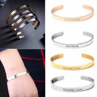 DIY Custom Letters Engraved Stainless Steel Cuff Bangle Bracelet Jewellery Gifts