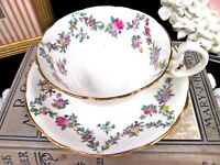 AYNSLEY tea cup and saucer pretty pink rose floral swag teacup low Doris shape
