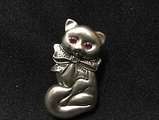 Vintage! Sterling Silver 925 Pink Eyes Scottish Fold Cat Pin Pendant Fs
