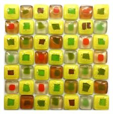 Yellow Mix Fused Glass Mosaic Tiles Sheets Borders Hand-Painted