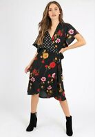 Womens Ladies Black Contrast Print Self Tie Floral Wrap Midi Dress