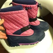 COLUMBIA SNOW STAR GIRLS YOUTH SNOW WINTER PINK BOOTS SIZE- 4
