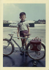 PHOTO ANCIENNE - VINTAGE SNAPSHOT - VÉLO BICYCLETTE ROULETTE SACOCHE - BIKE 1964