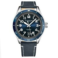 Stuhrling Men's Quartz Blue Dial Luminous Hands Markers Blue Leather Strap Watch