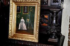Wonderful old Portrait  of lovely Girl artist oil Painting
