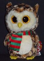 """TY BEANIE BOOS - WISE the 6"""" HOLIDAY OWL - MINT with MINT TAG"""