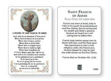 SAINT FRANCIS - LAMINATED PRAYER CARD - STATUES CANDLES PICTURES ALSO LISTED