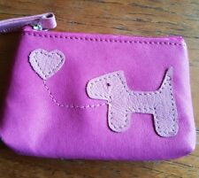 FABRETTI Pink Real Leather Coin Purse with Dog Design