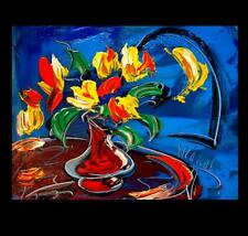 FLOWERS MOON  MARK KAZAV - ORIGINAL OIL PAINTING ABSTRACT MODERN ART  TH65