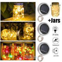 Mason Jar Lid Fairy String Solar Powered LED Lights Lamp Garden Home Party Decor