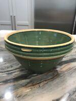 Vintage Large Green Pottery Bowl Marked # 10 McCoy?