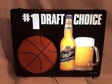 VINTAGE LIGHTED MILLER GENUINE DRAFT BEER Bar Sign( BASKETBALL) #1 DRAFT CHOICE