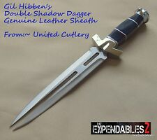 UNITED CUTLERY EXPENDABLES 2 GIL HIBBEN DOUBLE SHADOW DAGGER WITH LEATHER SHEATH