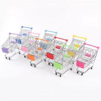 Kids Pretend Role Play Mini Metal Shopping Trolley & Basket Supermarket Handcart
