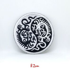 Yin Yang Dragon Iron or Sew on Embroidered Patch Badge #1205